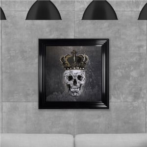 Crown Skull Print Grey Hand Made with Liquid Glass and Swarovski Crystals 75 x 75 cm