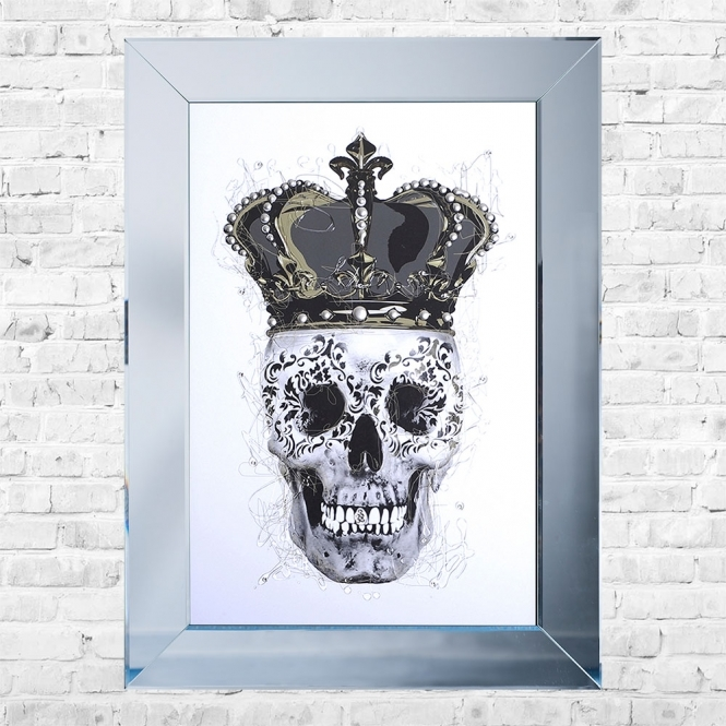 SHH Interiors Crown Skull White Background Framed Liquid Artwork and Swarovski Crystals