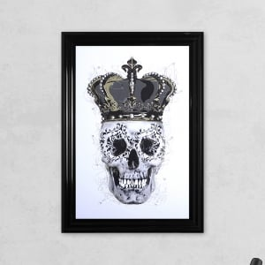 Crown Skull White with Liquid Glass and Swarovski Crystals 48 x 68 cm