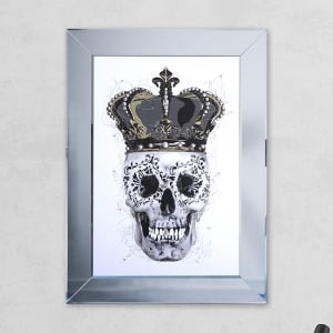 Crown White Skull Print Mirror with Liquid Glass and Swarovski Crystals 54 x 74 cm