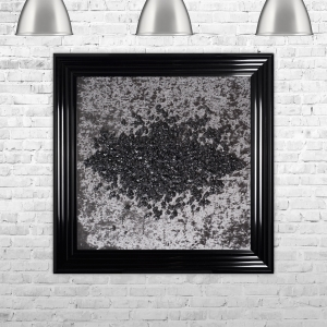 Crushed Glass Cluster on Dark Velvet Framed Liquid Artwork and Swarovski Crystals