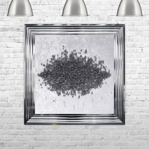 Crushed Glass Cluster on Light Velvet Framed Liquid Artwork and Swarovski Crystals