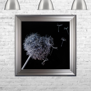 Dandelion Black Background Glitter Art Framed Liquid Artwork and Swarovski Crystals