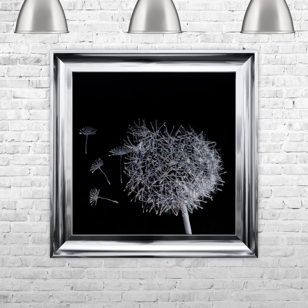 Well known SHH Interiors Dandelion Black Background Glitter Art Framed Liquid  QG29