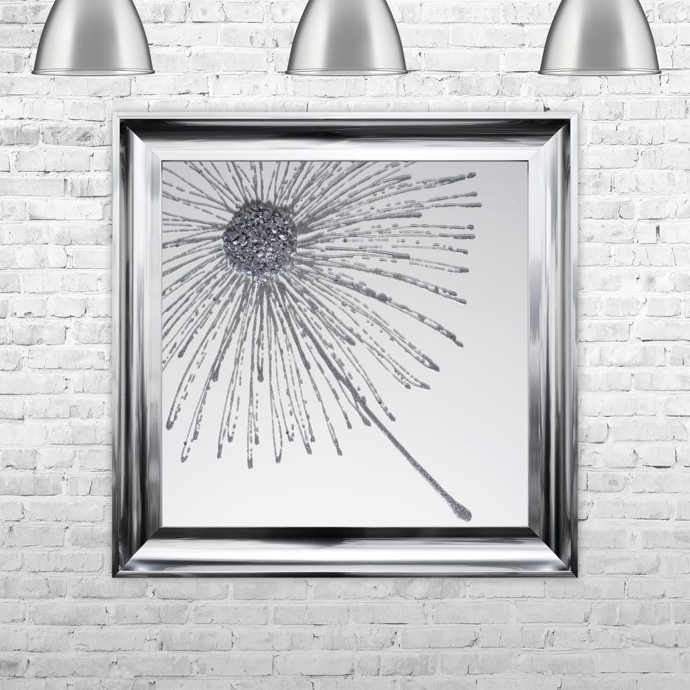 Dandelion Silver Glitter White Background Left Framed Liquid Artwork ...
