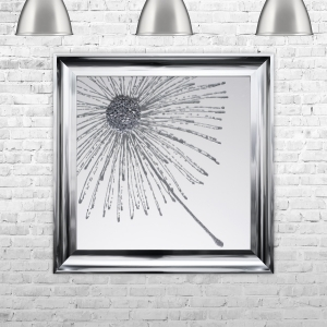 Dandelion Silver Glitter White Background Left Framed Liquid Artwork and Swarovski Crystals