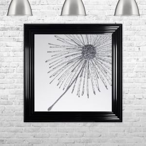 Dandelion Silver Glitter White Background Right Framed Liquid Artwork and Swarovski Crystals