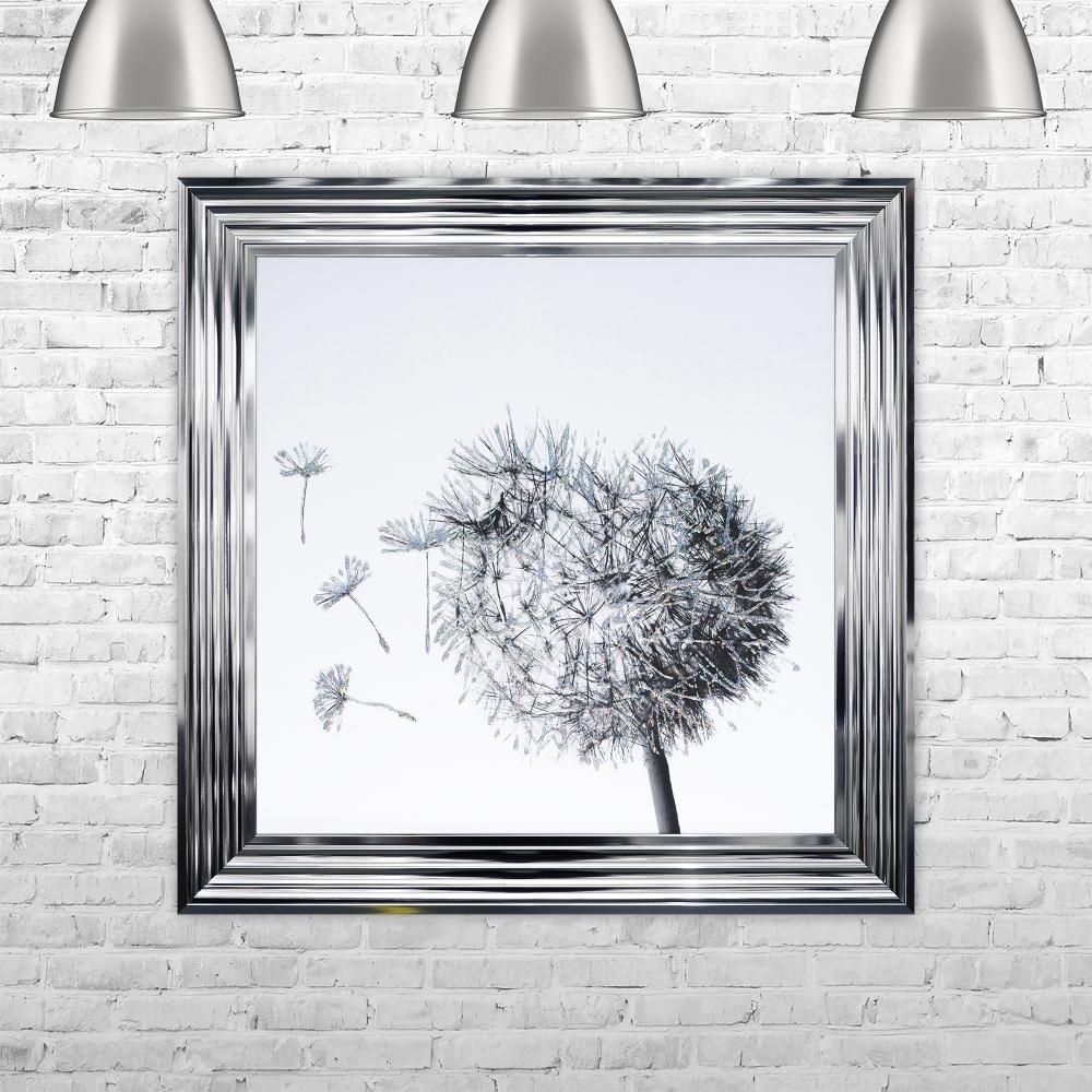 Dandelion White Background Glitter Art Framed Liquid Artwork and ...