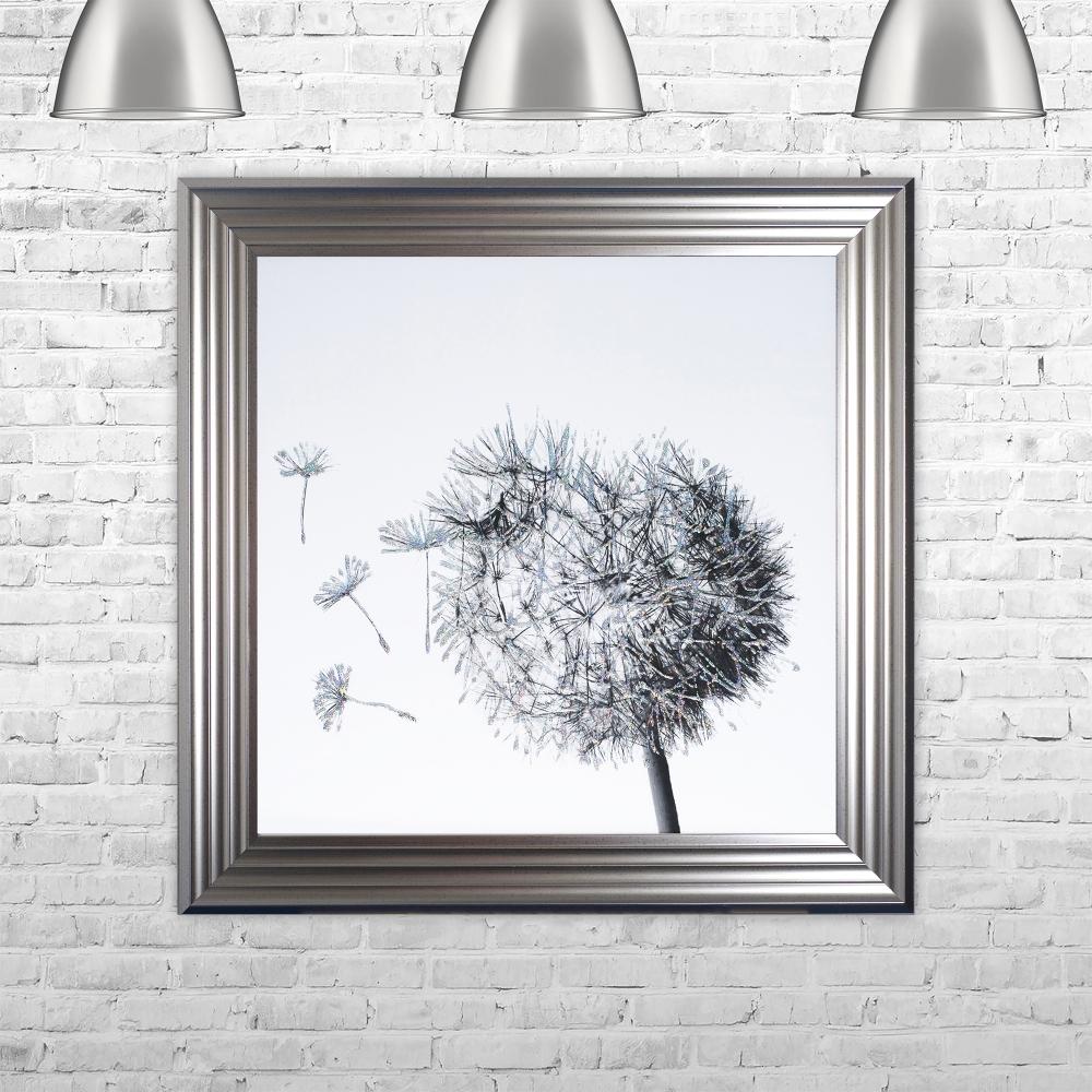 Preferred SHH Interiors Dandelion White Background Glitter Art Framed Liquid  AB72