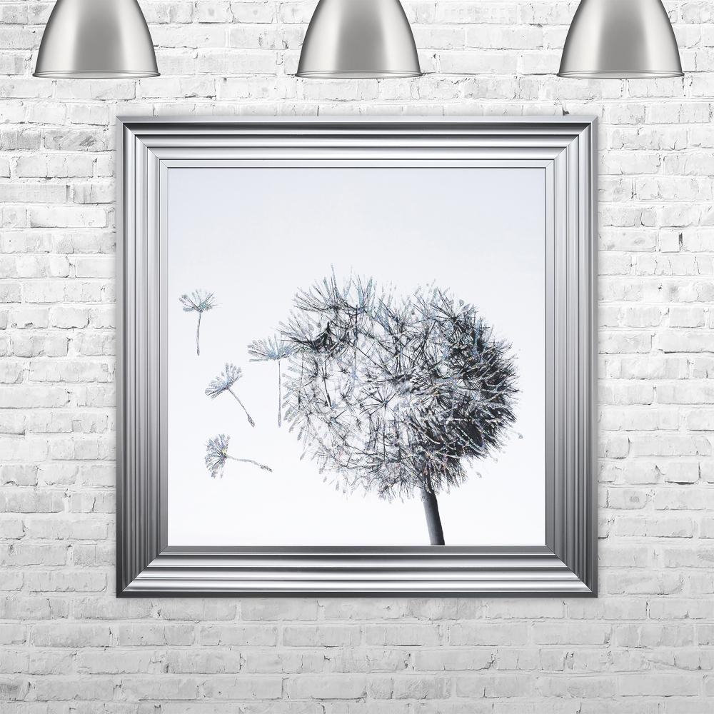 Ideal SHH Interiors Dandelion White Background Glitter Art Framed Liquid  PM73