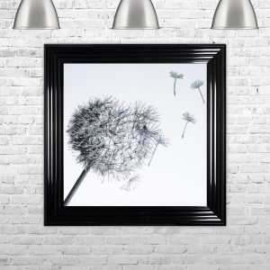 Dandelion White Background Glitter Art Framed Liquid Artwork and Swarovski Crystals