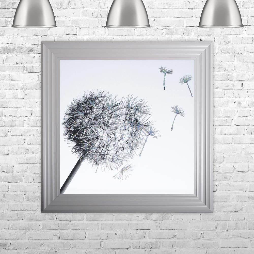 Well known SHH Interiors Dandelion White Background Glitter Art Framed Liquid  WL03