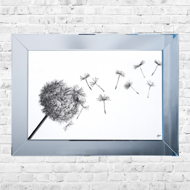 SHH Interiors Dandilion Blowing Framed Liquid Artwork and Swarovski Crystals