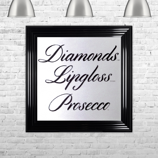 SHH Interiors Diamonds Lipgloss Prosecco Framed Liquid Artwork with Swarovski Crystals White Background