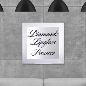 Diamonds Lipgloss Prosecco White Hand Made with Liquid Glass and Swarovski Crystals 75 x 75 cm