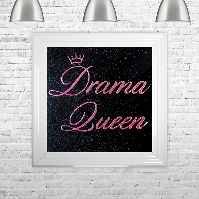 SHH Interiors Drama Queen Pink Writing Black Glitter Background | 75cm x 75cm