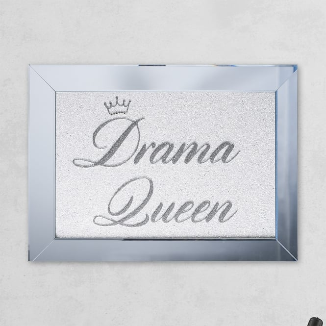 SHH Interiors Drama Queen Silver white Mirror with Liquid Glass and Swarovski Crystals 54 x 74 cm