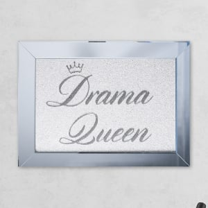 Drama Queen Silver white Mirror with Liquid Glass and Swarovski Crystals 54 x 74 cm