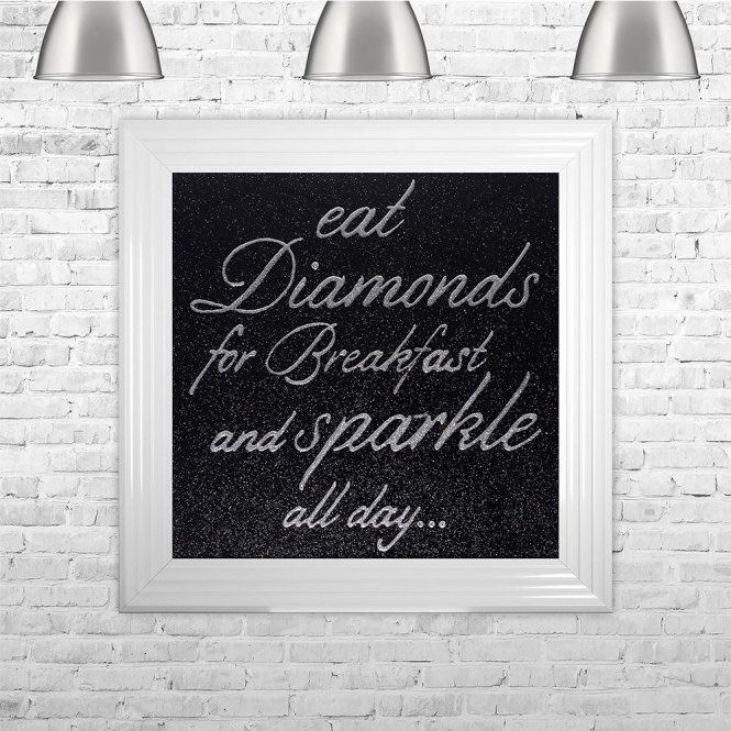 SHH Interiors Eat Diamonds For Breakfast and Sparkle All Day Silver Writing Black Glitter Background | 75cm x 75cm