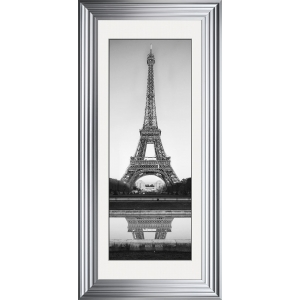 Eiffel Tower Framed Glitter Liquid Art With White Mount 115cm x 55cm
