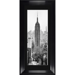 Empire State Building Framed Glitter Liquid Art with Black Mount 115cm x 55cm