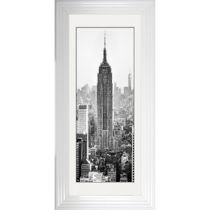 Empire State Building Framed Glitter Liquid Art with White Mount 115cm x 55cm