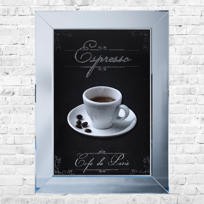 SHH Interiors Espresso Print Framed Liquid Artwork and Swarovski Crystals