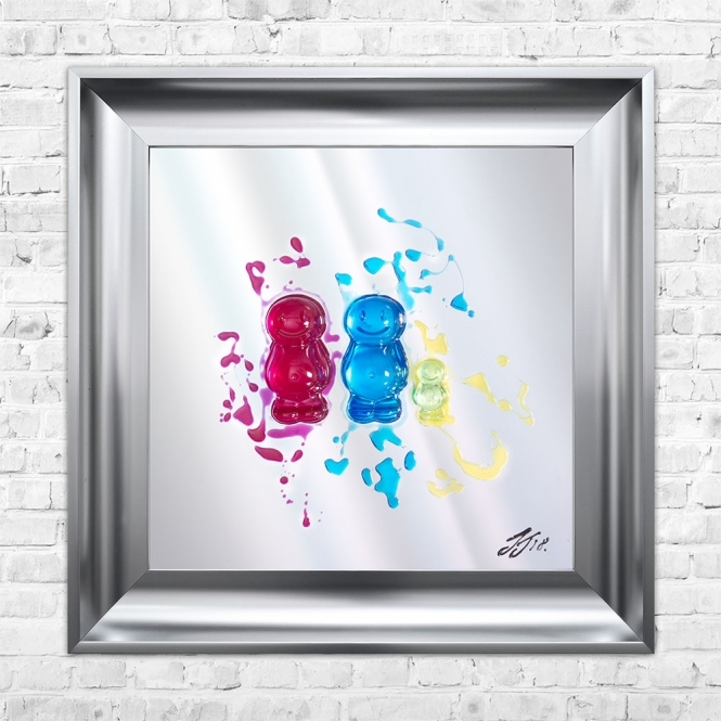 SHH Interiors FAMILY OF 3 Jelly Babies Liquid Art| JAKE JOHNSON | 55cm x 55cm Mirrored Background