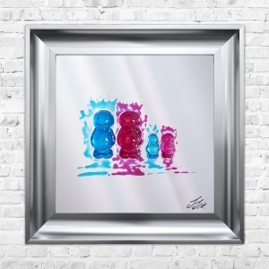 FAMILY OF 4 | JAKE JOHNSON | 55cm x 55cm Mirrored Background