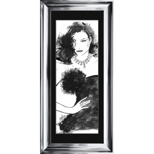 Fashion Lady Pose 1 Framed Glitter Liquid Art With Black Mount 115cm x 55cm