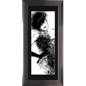 Fashion Lady Pose 3 Framed Glitter Liquid Art With Black Mount 115cm x 55cm