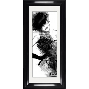Fashion Lady Pose 3 Framed Glitter Liquid Art With White Mount 115cm x 55cm