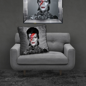 Filled Crushed Velvet Cushion BOWIE TATTOOS | 55cmx55cm