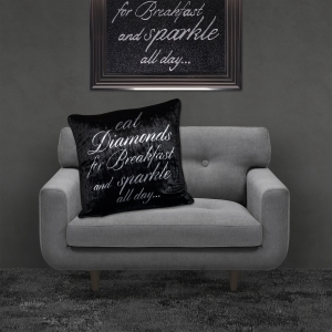 Filled Crushed Velvet Cushion EAT DIAMONDS FOR BREAKFAST Black Background Silver Writing 55cmx55cm