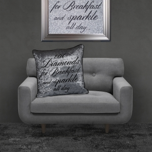Filled Crushed Velvet Cushion EAT DIAMONDS FOR BREAKFAST Silver Background Black Writing 55cmx55cm