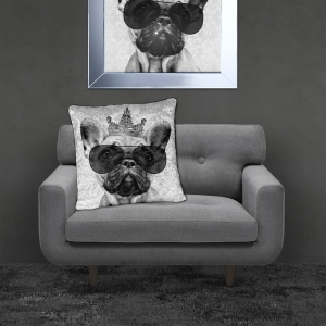 Filled Crushed Velvet Cushion FRENCH BULLDOG | 55cmx55cm