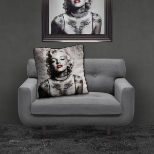 Filled Crushed Velvet Cushion MARILYN TATTOOS | 55cmx55cm
