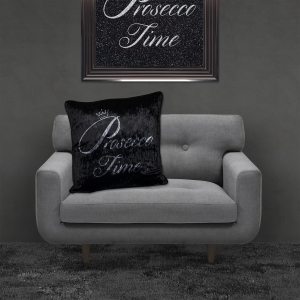 Filled Crushed Velvet Cushion | Prosecco Time – Black Background Silver Writing | 55cmx55cm