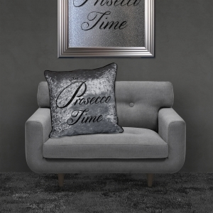 Filled Crushed Velvet Cushion | Prosecco Time – Silver Background Black Writing | 55cmx55cm
