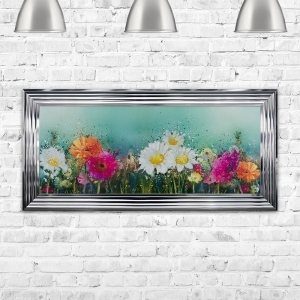 Flower Field in the Meadow Framed Liquid Art Artwork 115cm x 55cm