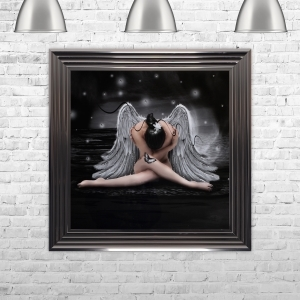 Framed Angel Hand Made with Liquid Glass and Swarovski Crystals 75 x 75 cm
