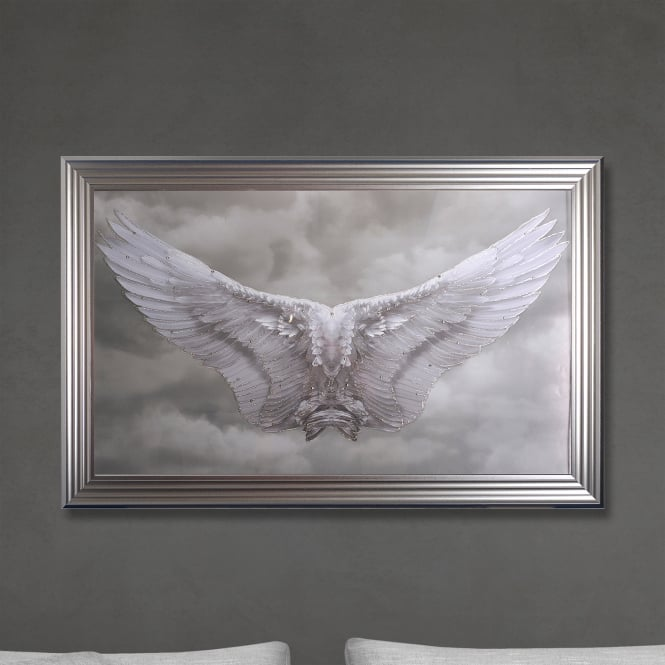 SHH Interiors Framed Angel Wings Print Hand Made with Liquid Glass and Swarovski Crystals 114 x 74 cm