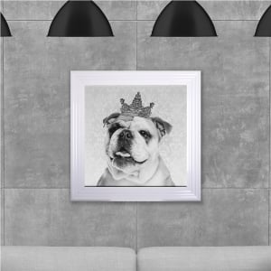 Framed Bulldog Crown Hand Made with Liquid Glass and Swarovski Crystals 75 x 75 cm