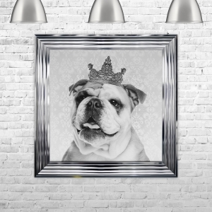 Framed Bulldog with Crown Hand Made with Liquid Glass and Swarovski Crystals 75 x 75 cm