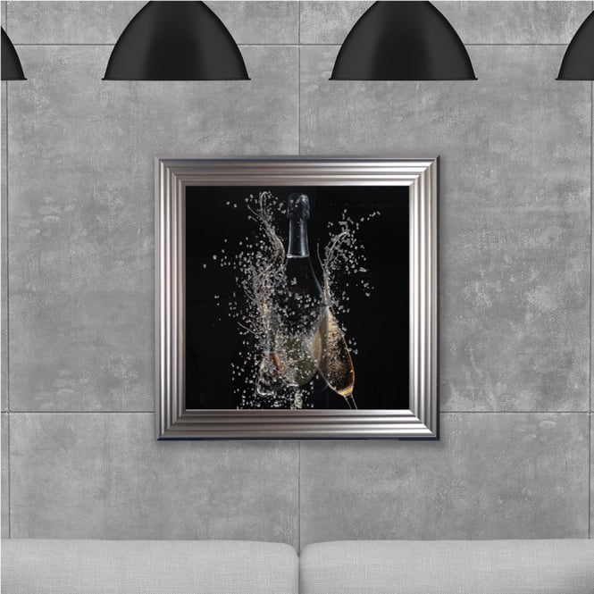 SHH Interiors Framed Champagne Bottle Hand Made with Liquid Glass and Swarovski Crystals 75 x 75 cm