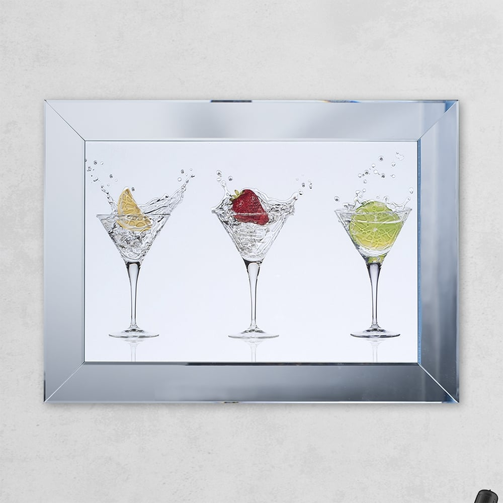 Wall Art Glass Framed : Shh interiors framed cocktail glass print mirror with