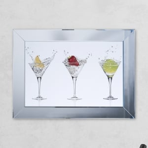 Framed Cocktail Glass Print Mirror with Liquid Glass and Swarovski Crystals 54 x 74 cm
