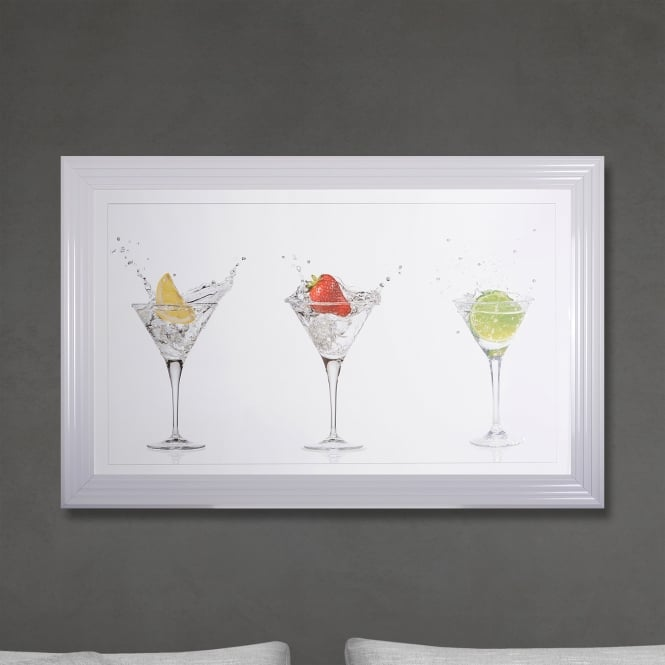SHH Interiors Framed Cocktails Print Hand Made with Liquid Glass and Swarovski Crystals 114 x 74 cm