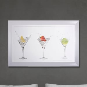 Framed Cocktails Print Hand Made with Liquid Glass and Swarovski Crystals 114 x 74 cm