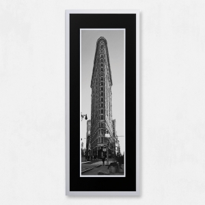 Framed Flat Iron Building with Liquid Glass and Swarovski Crystals 40 x 100cm